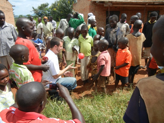 Playing Ball with Children in Mboira, Masindi District, Uganda