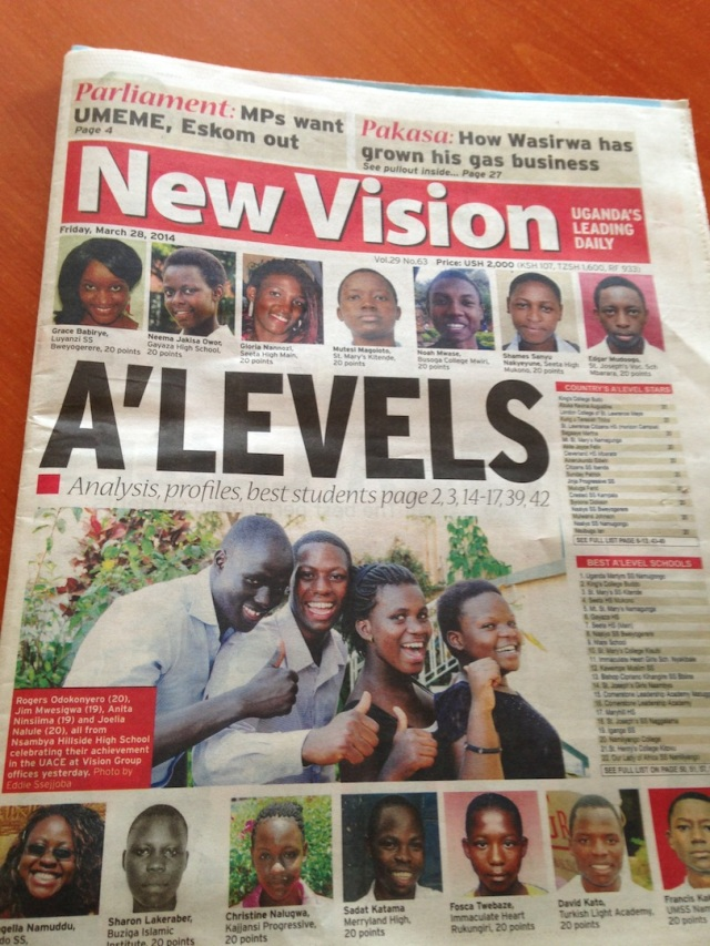 Every year once the UNEB marks the Final A Level Exams, all of the schools are ranked and the names of the top student achievers are printed in the paper. The top score is 20.