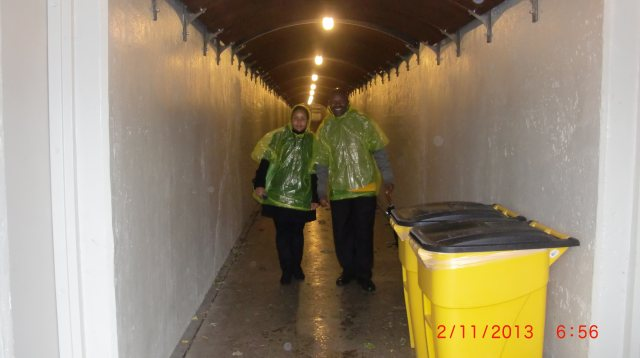 Vicky and Patrick are all dressed in their water outfits to go to the base of the falls where the water spray is strong