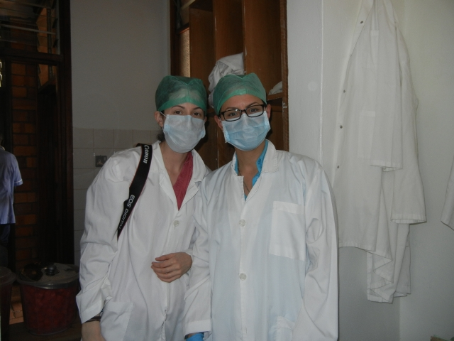 "Jenna and Sammi are all ""garbed"" up and ready to enter the sterile room."