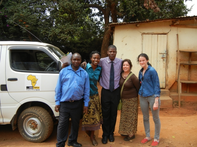 The hospice team for the day included Kavuma, the driver, Octavia, the nurse, Dr. Moses, KarenBeth, Jenna, and Sammi (taking the photo)