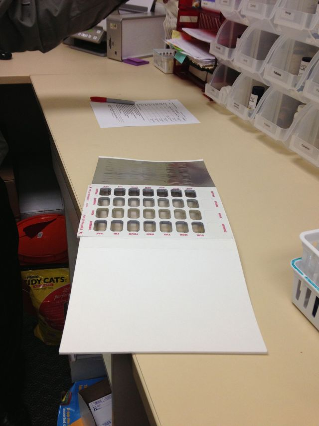 """This is a sample of Unit Dose packaging that allows the pharmacist to create a """"pill pack"""" that is unique for each patient to help with adherence."""