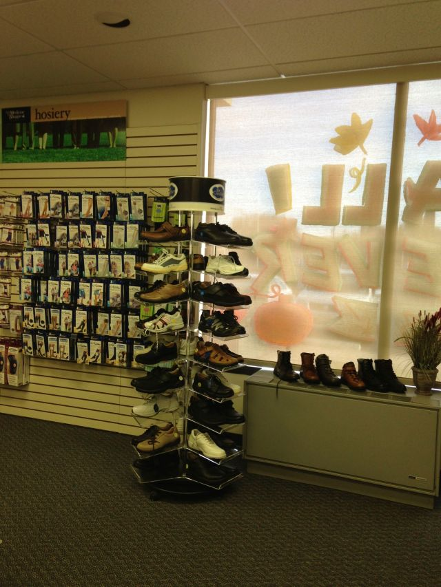 The Orthotic shoes rack at the Wilkes-Barre Medicine Shoppe Pharmacy