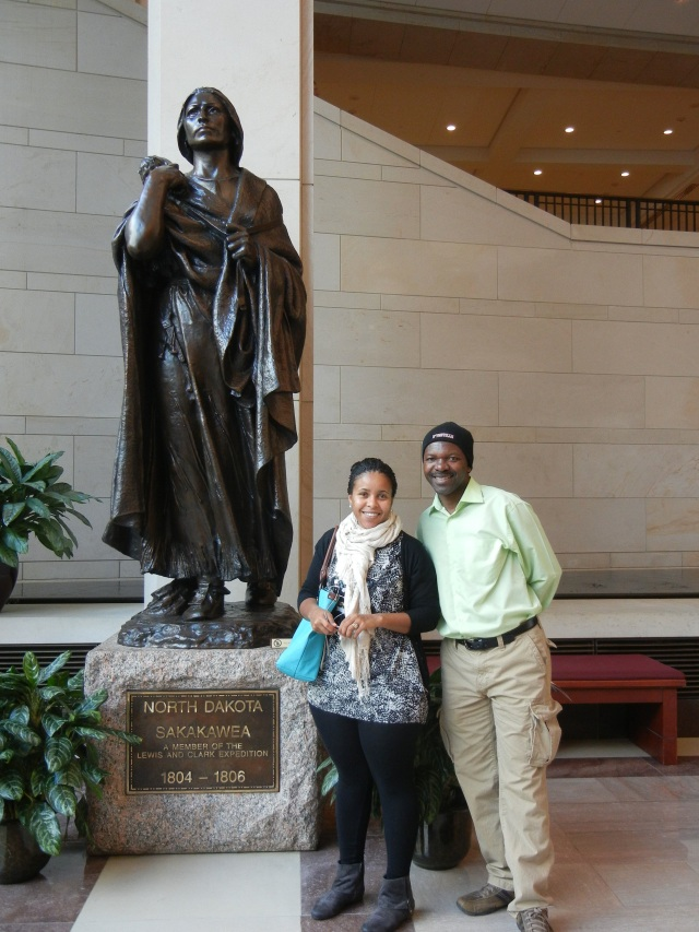 Vicky and Patrick stand beside the monument to Sakakawea, the Indian woman who acted and guide and translator for Lewis and Clark's expedition of the Western USA