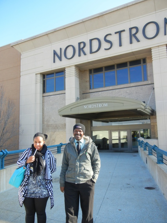 Vicky and Patrick outside of an American Mall