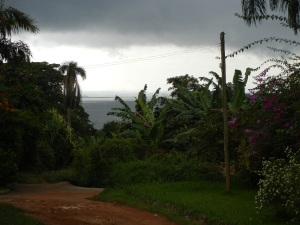 The storm is rolling in over Lake Victoria near our destination for the church service