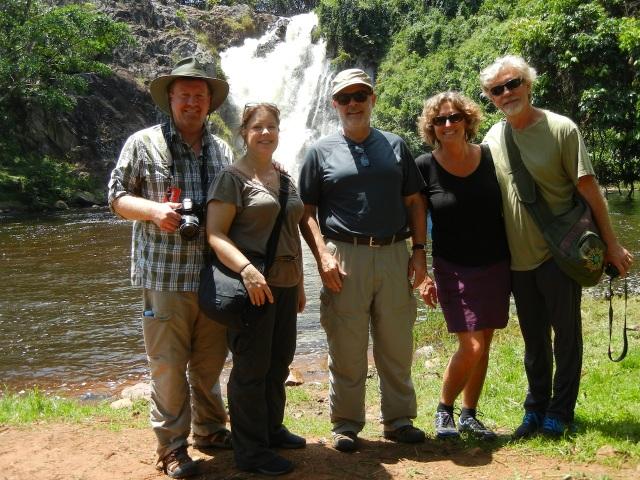 Ssezibwa Falls- Jeff, KarenBeth, Monty, Kiran, Russ (left to right)