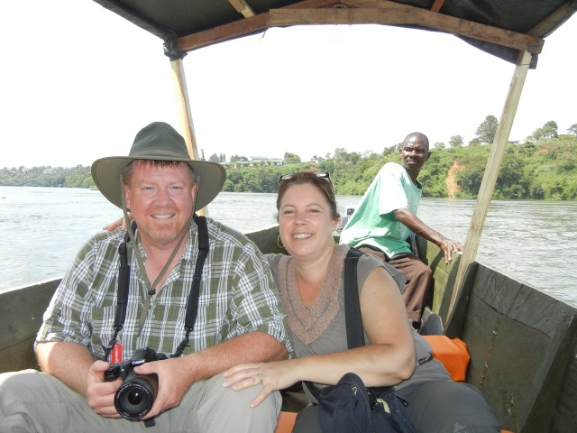 Jeff and KarenBeth on the boat ride to the Source of the Nile