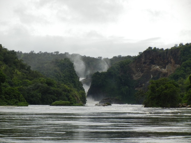 Murchison Falls as seen from the Victoria Nile River boat ride