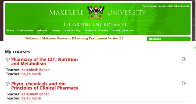 It's official, I am an instructor for the School of Pharmacy and can now post materials for the students for the new Pharmaceutical Care Lab on the Makerere eLearning site!
