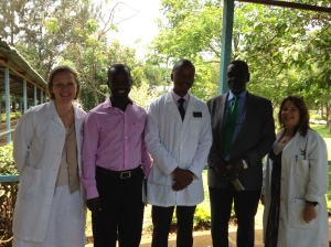 At Moi Referral and Teaching Hospital (Left to Right: Susie, Kalidi, Dennis, Richard, KarenBeth)