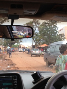 Driving through Kampala to the worship service