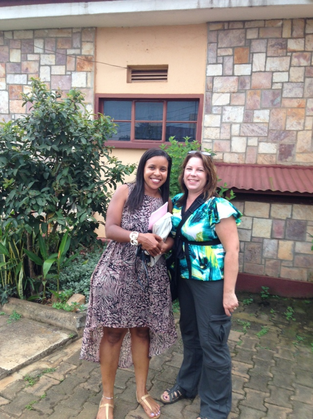 Vicky and KarenBeth at her Mom's home in Kampala, Sat. 31Aug14