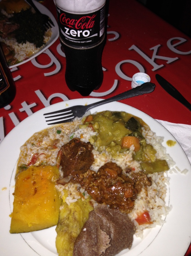 This is a typical Ugandan meal after church on Sunday 31Aug14 at one of the Campus Canteens.