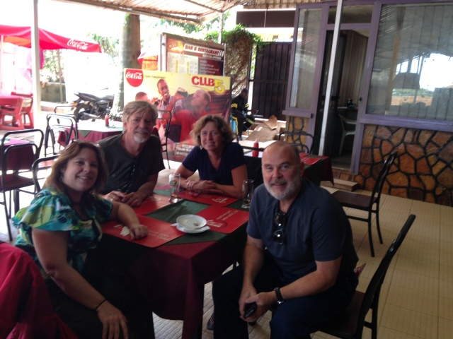 A Gathering of New Friends for lunch at a local Indian Restaurant: KarenBeth, Russ, Kiran, and Monty (clockwise from bottom center)