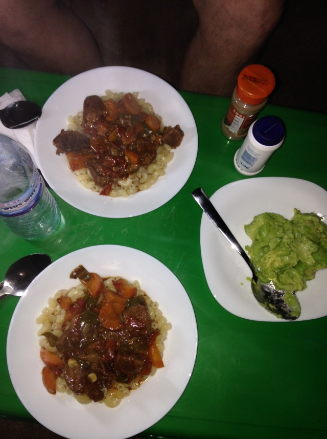 Dinner is Served: Beef Stew over Macaroni with a side of Avocado