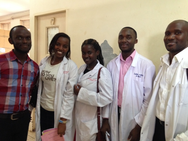 3rd Year Pharmacy Students Working with Patients At Mulago Hospital (pictured left to right: Nelson, Barbara, Babra, Geoffrey, Ronald)