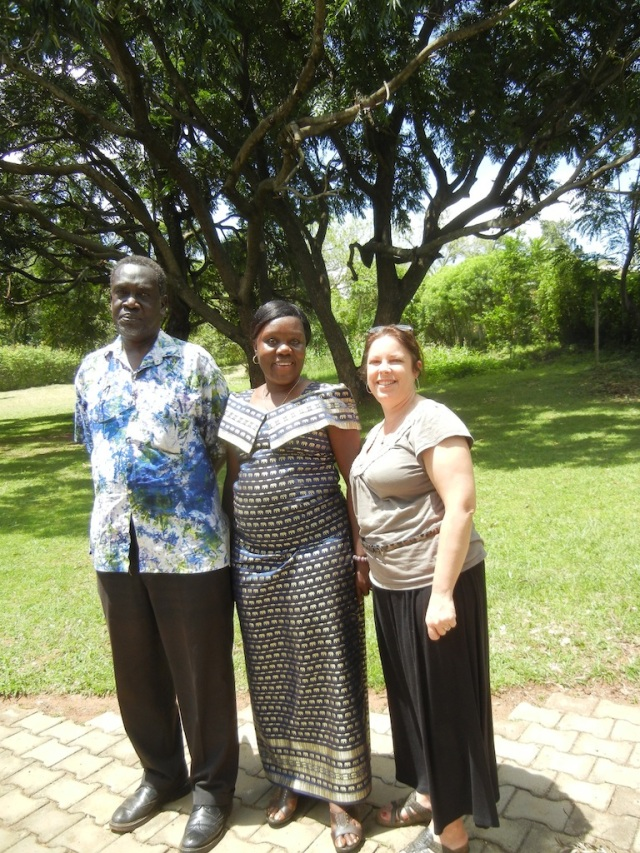 Professor Richard Odoi, his wife Nora, and me (KarenBeth) on the grounds of his weekend home in Tororo, Uganda