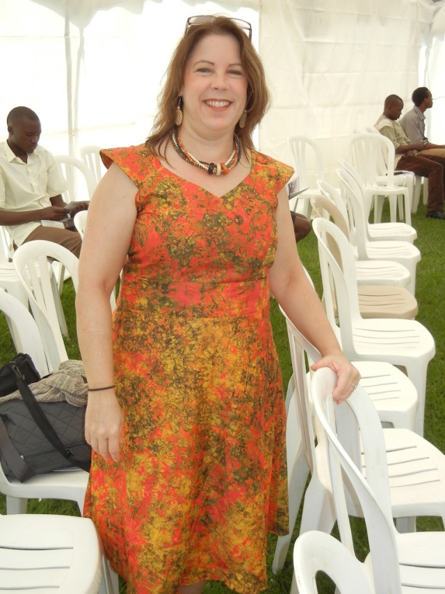 This is the dress I had made by the tailor, David. The fabric was from my trip to Jinja, Uganda back in September.