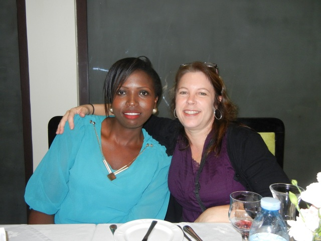 Linda, a Ugandan 4th Year Pharmacy Student, and me at a farewell dinner.