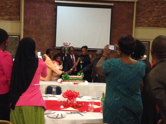 Cutting the cake for the Nursing Celebration involved all of the guest who were seated on the stage and it was a huge cake! The man in the middle is the Deputy Vice Chancellor
