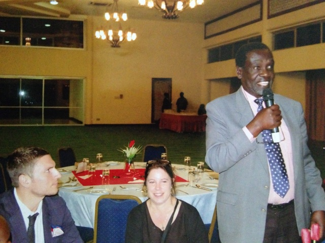 Richard introduces himself, Joe, and KarenBeth at the Makerere University Nursing Department Celebration of 20 years