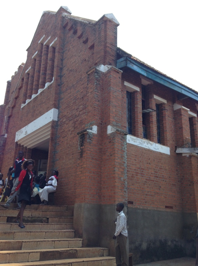 This is the front entrance to Sacred Heart Roman Catholic Church in Tororo, Uganda