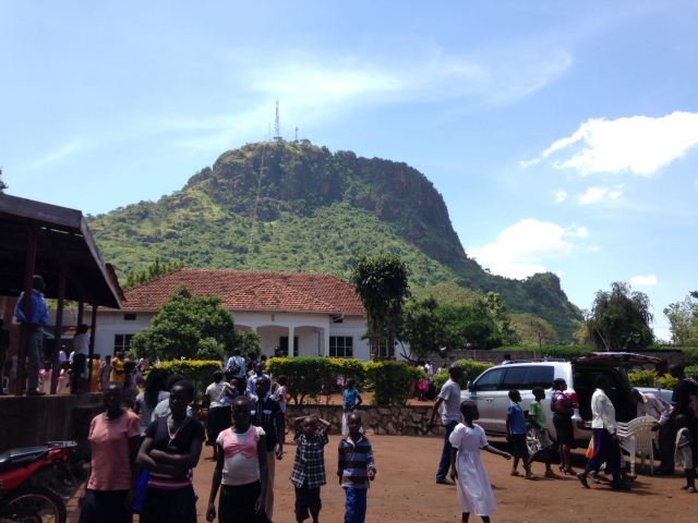 A beautiful view of Tororo Rock from the parking lot of Sacred Heart Church