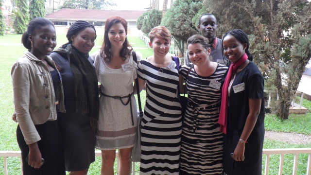 Wilkes students with their new friends, pharmacy students from Makerere University at the conference