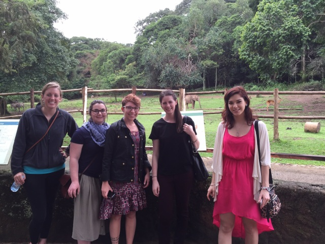 Hanna, Lizzie, Amanda, Stacy, and Kristen (Left to Right)- Check out the baby elephant in the background!