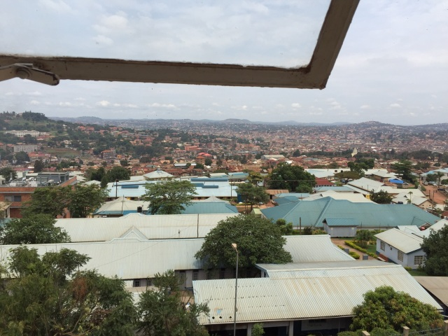 This is a view from the new Cancer Ward on top of Mulago Hill.  All of the light and dark green-topped buildings belong to the Uganda Cancer Institute