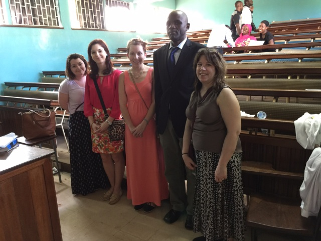 The Wilkes Team with the Principle Pharmacist, Mr. Sseguya.