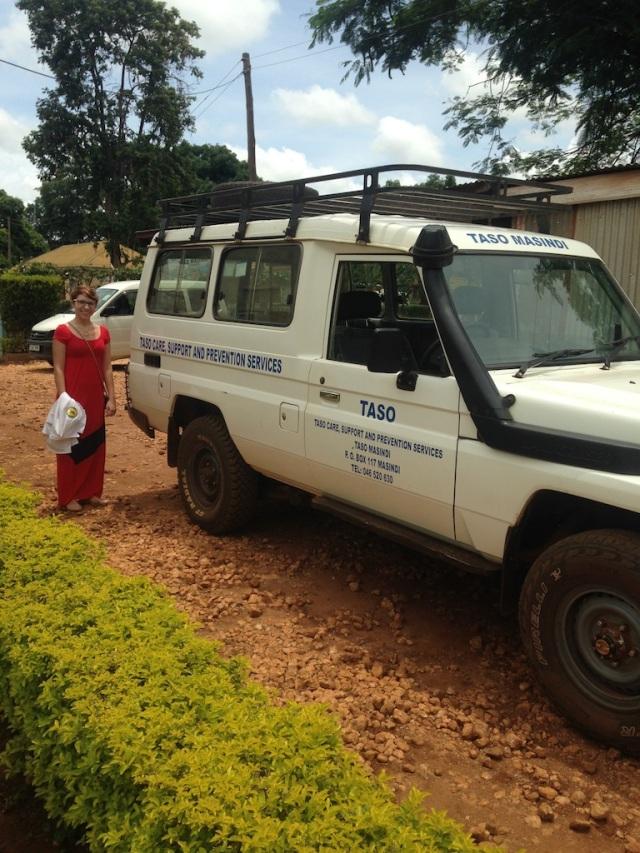 Amanda standing next to the TASO vehicle