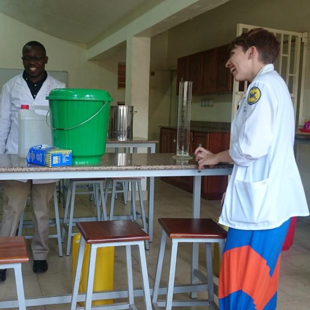 Amanda and David start the preparations to make hand sanitizer