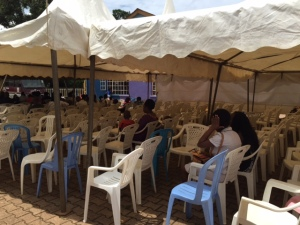 This is one of the tents outside after the service. The few people inside are here for the next service but it was full for the service we attended