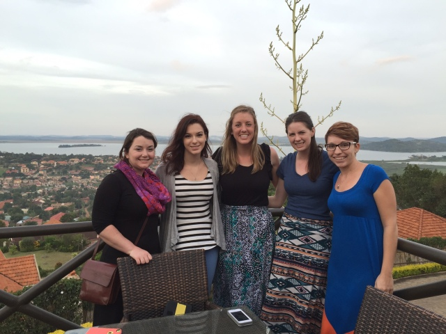 This is a picture of the entire group, before Stacy had to head back to Pennsylvania last Saturday, at a lovely quiet restaurant on top of one of the hills in Kampala called Cassia Lodge. The view is spectacular and I always like to bring the students there early so we can watch the sunset over Lake Victoria