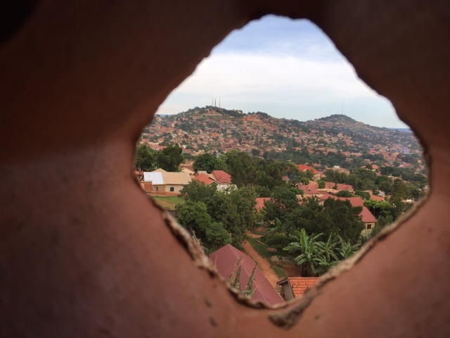 View through the clay lattice wall at the top of the building.