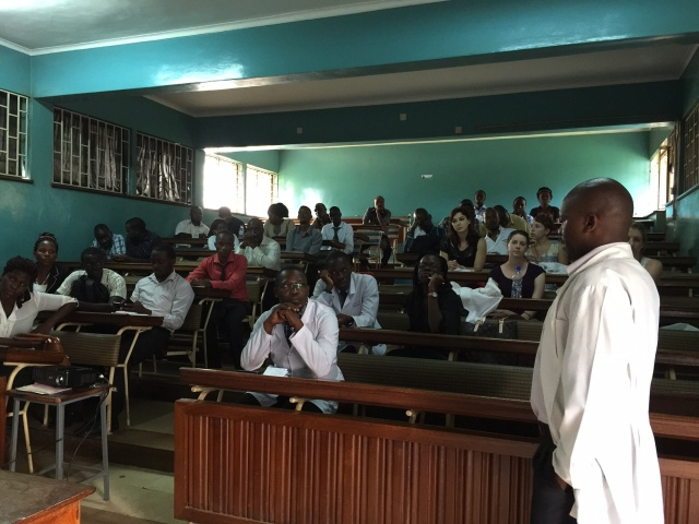Patrick Opio, one of the Mulago Hospital Pharmacists addresses the group