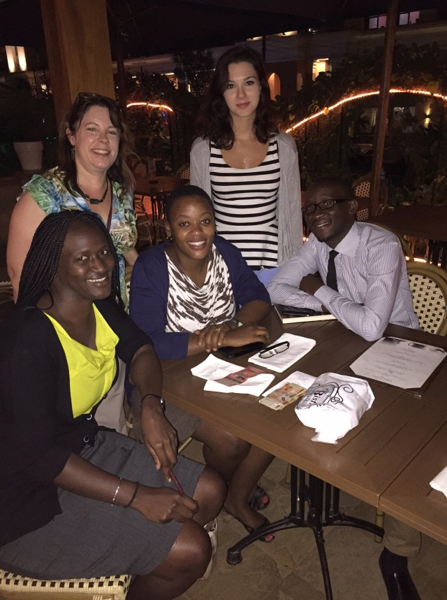 Dinner with new friends from the Infectious Disease Institute in Kampala: Eva, KarenBeth, Shadia, Kristen, and Julian