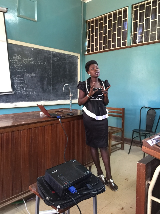Gonsha is teaching the Pharmacy Interns in one of the Lecture Halls at the Medical School on the campus of Mulago National Referral Hospital, Kampala, Uganda