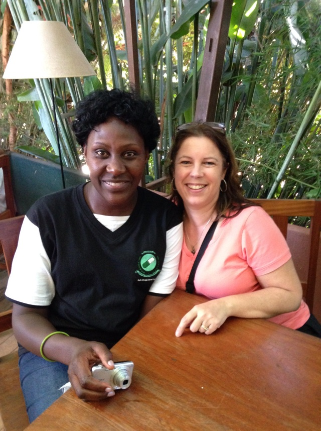 Pamela and KarenBeth enjoy lunch in Kampala in November 2015.