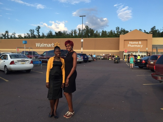 Gonsha and Cathy outside Walmart
