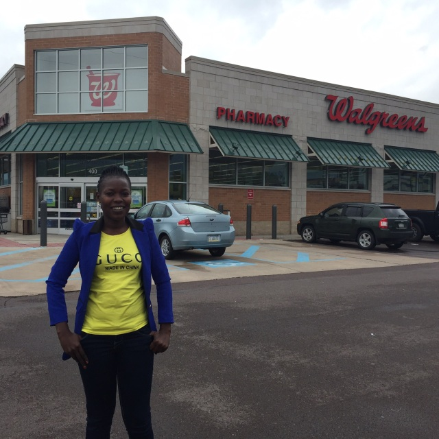 Gonsha in front of Walgreens where she received a Tdap (tetanus, diphtheria, and accellular pertussis) vaccine from a Pharmacist