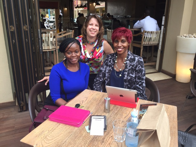 Winnie, KarenBeth, and Cathy catch-up and plan for the Hospital Experiences over lunch