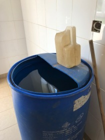 This is the water you flush down the toilet because the toilet doesn't flush, despite the appearance.